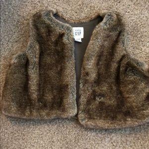 Brown faux fur Gap vest
